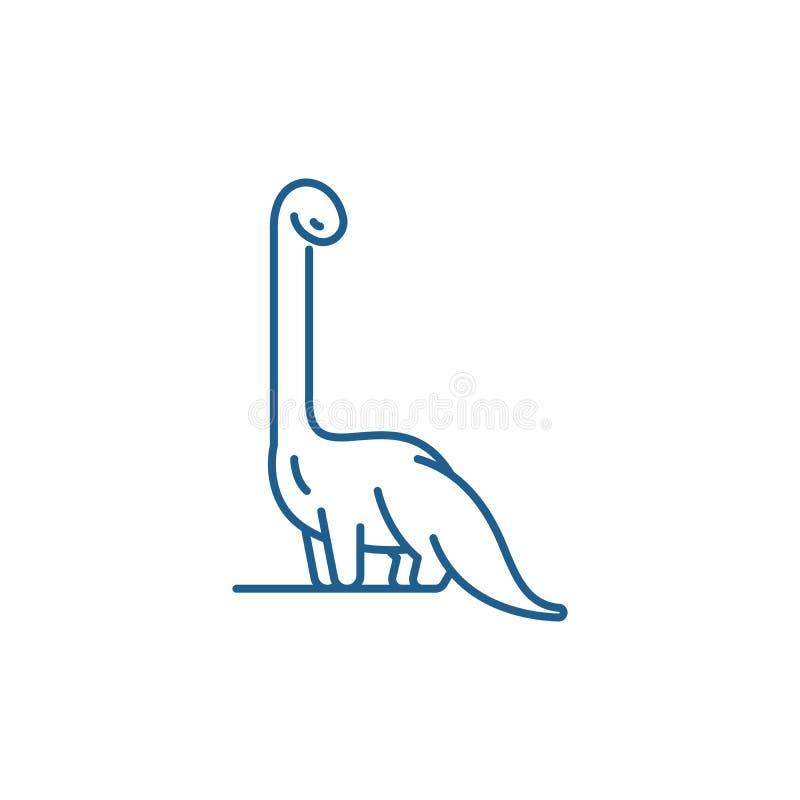 Diplodocus line icon concept. Diplodocus flat  vector symbol, sign, outline illustration. stock illustration
