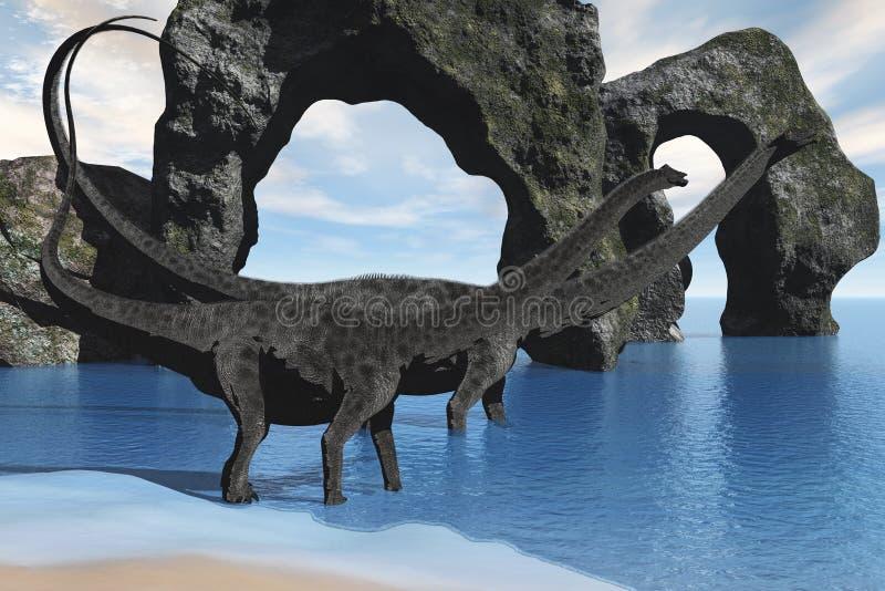 Diplodocus marchant dans l'eau illustration stock