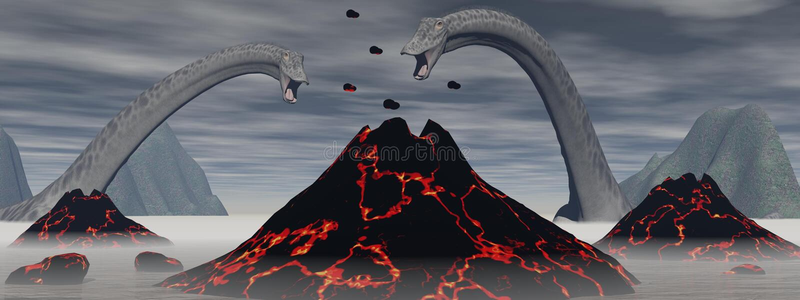 Diplodocusdinosaurier och vulkan - 3D framför vektor illustrationer
