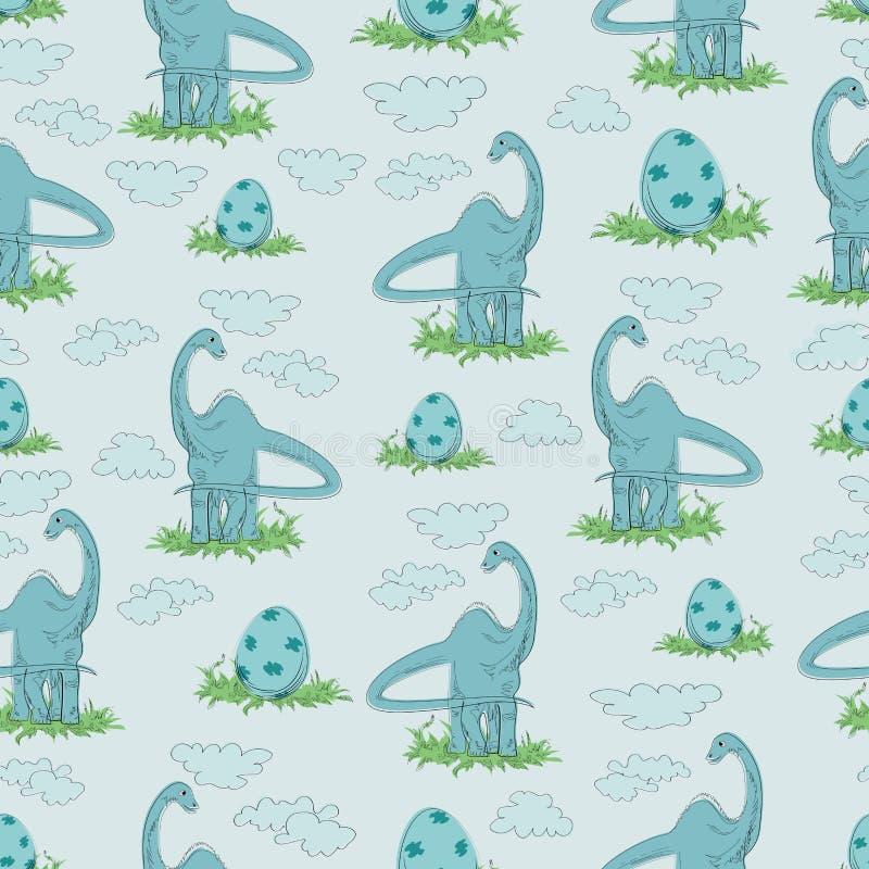 Diplodokus Trawożerny dinosaur i jajko w trawie ilustracji