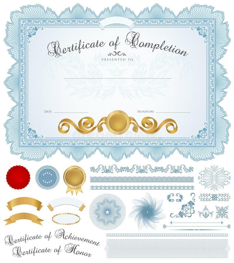 Diplom-/certifikatbakgrund med blåttgränsen stock illustrationer
