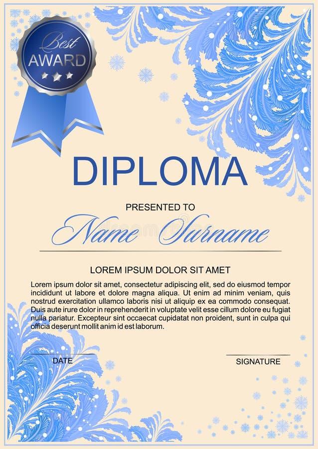Diplom in der eisigen Art vektor abbildung