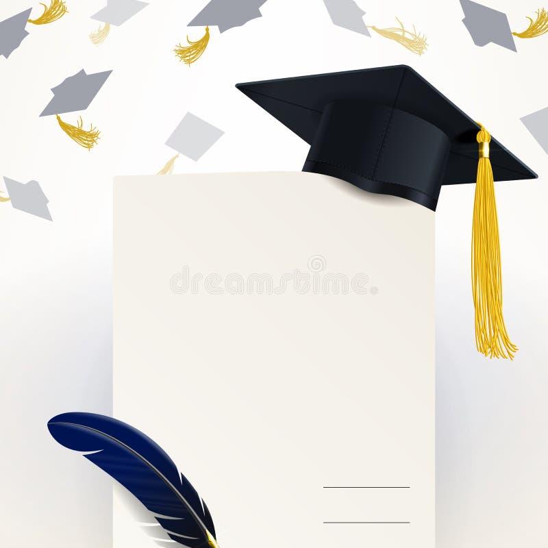 Diplom der Staffelung und der Absolvent-Kappe stock abbildung