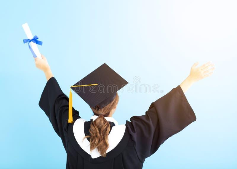 Diplom för kandidat för bakre sikt hållande arkivbild