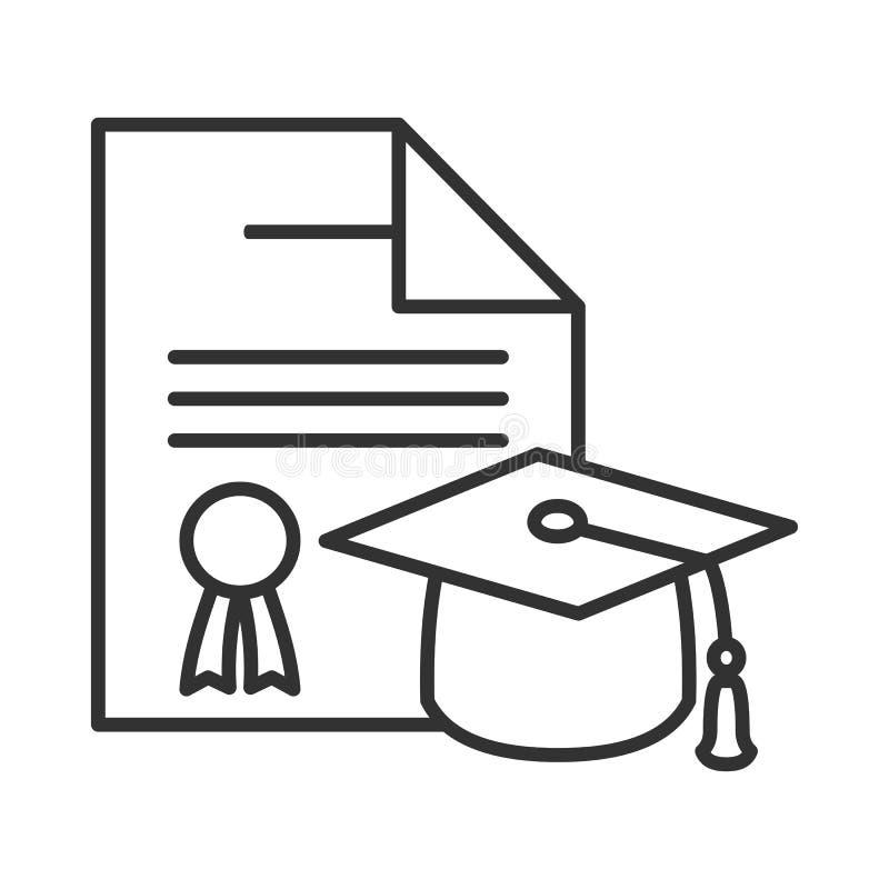 Diplom- och avläggande av examenhattöversiktssymbol royaltyfri illustrationer