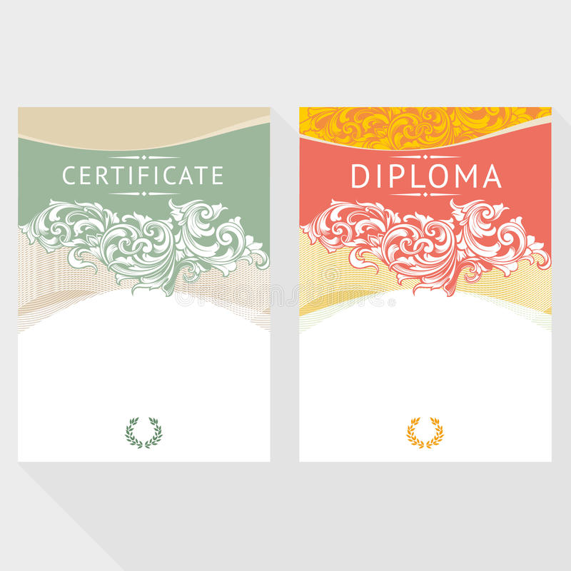 Diplom- och certifikatdesignmall royaltyfri illustrationer