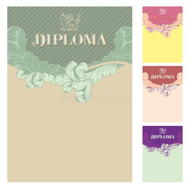 Diplom- och certifikatdesignmall stock illustrationer