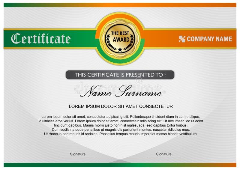 Diplom-/Preis-Zertifikat-Schablone, grüne Orange lizenzfreie abbildung