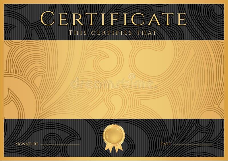 Diploma / Сertificate award template. Black royalty free stock images
