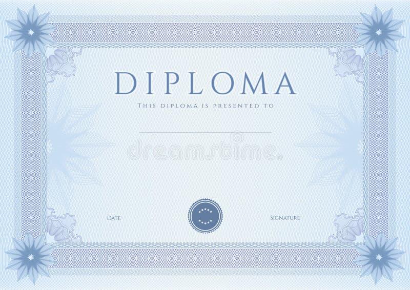 Diploma/?ertificate toekenningsmalplaatje. Patroon vector illustratie