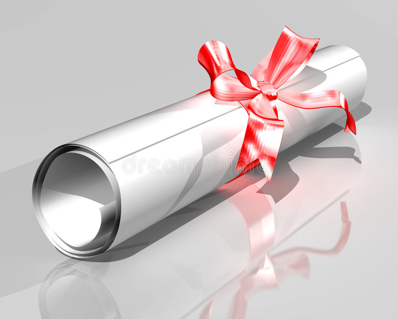 Diploma. Illustration of a diploma rolled into a scroll and tied with a ribbon vector illustration