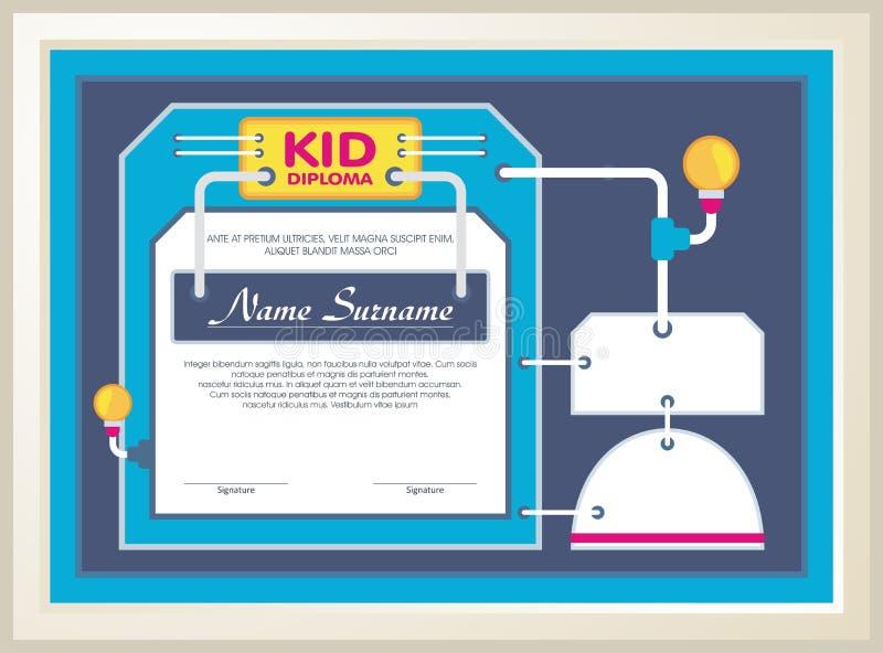 Diploma adorável da criança com construção da tecnologia ilustração royalty free