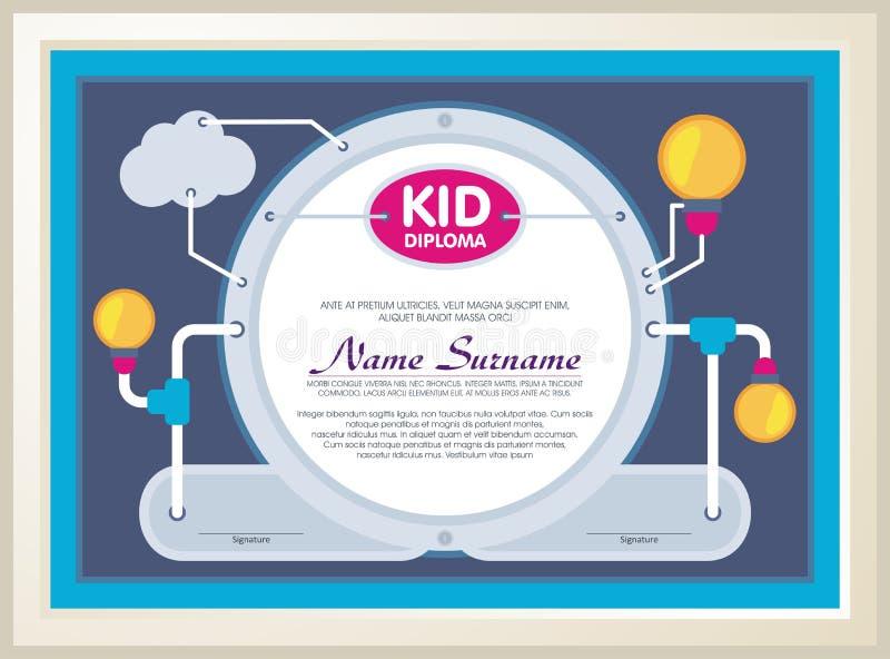 Diploma adorável da criança com construção da tecnologia ilustração stock
