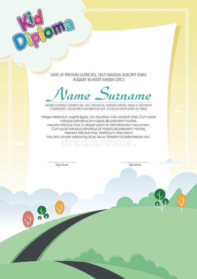 Diploma adorável da criança com paisagem da natureza ilustração stock