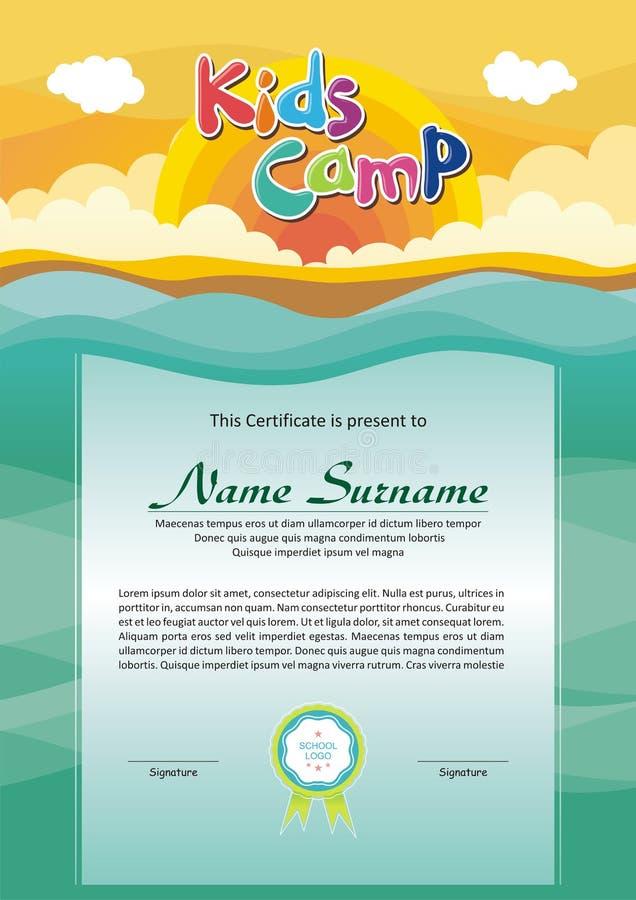 Diploma adorável do acampamento de verão das crianças ilustração royalty free