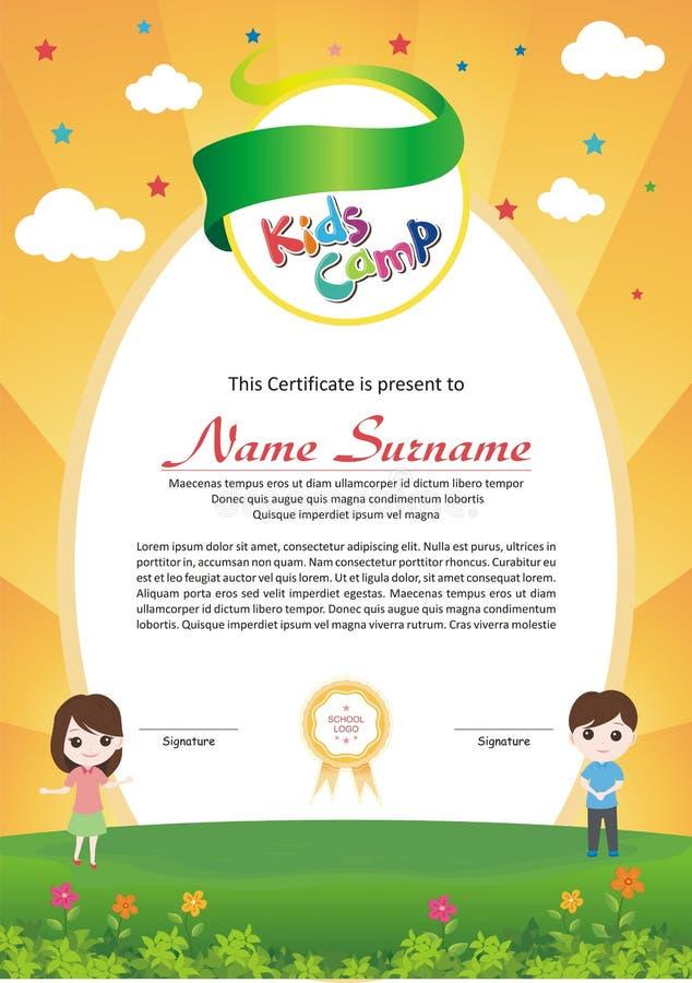 Diploma adorabile del campeggio estivo dei bambini illustrazione di stock
