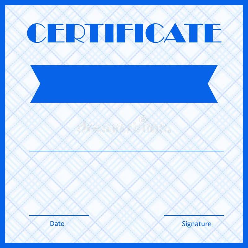 Diploma azul del certificado con el fondo azul del modelo ilustración del vector