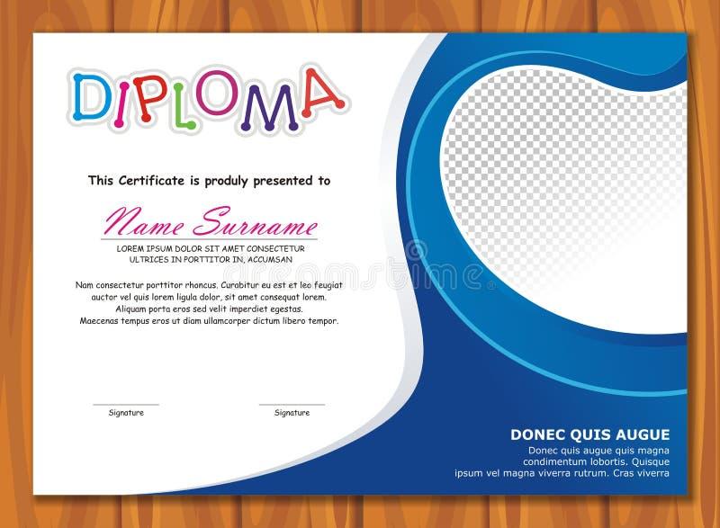Diploma bonito da criança - certificado ilustração royalty free