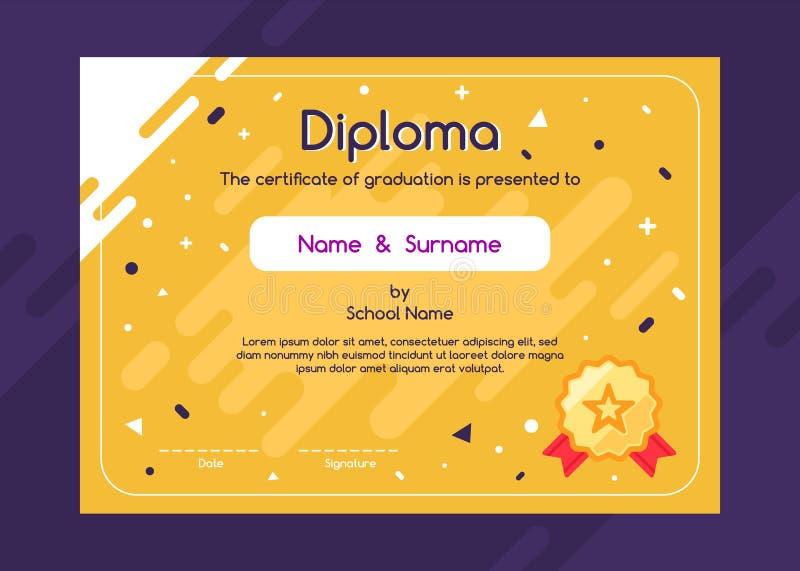 Diploma bonito das crianças ou molde do projeto do fundo do certificado ilustração royalty free