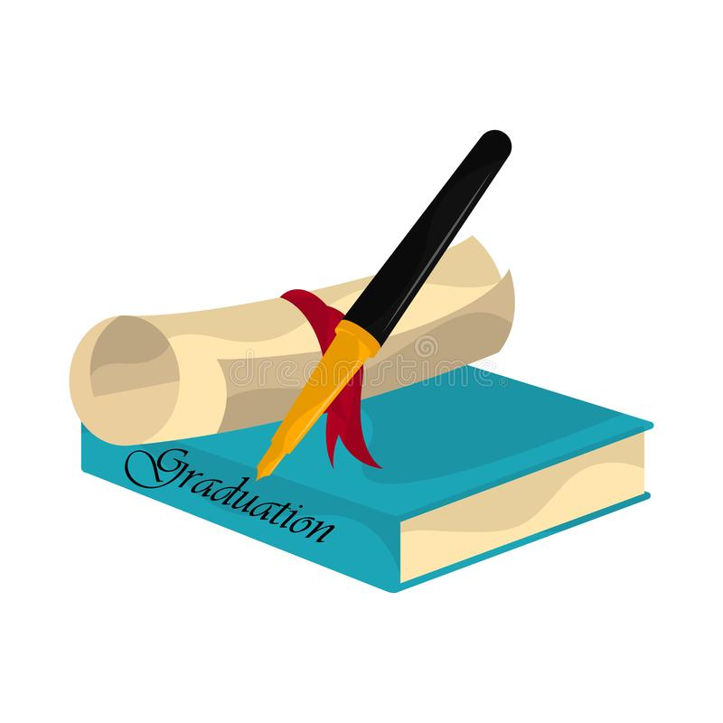 Graduation objects illustration. Diploma, book and pen. Graduation concept - Vector royalty free illustration