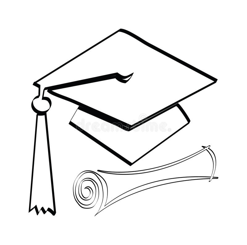 Diploma and cap. Graduation diploma and cap on a white background vector illustration