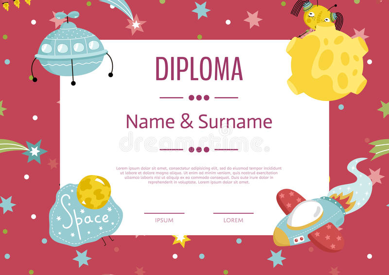 Diploma Cartoon Vector Template. Diploma cartoon template. Spaceship, stars. planets, comets. For award for victory in scientific competition. Cartoon space vector illustration