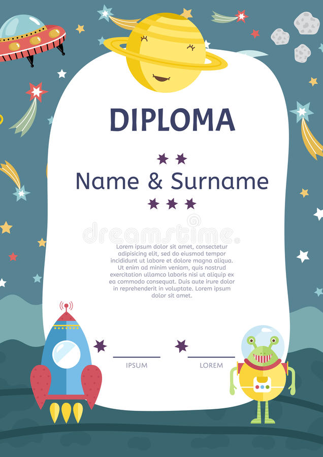 Diploma Cartoon Vector Template. Diploma cartoon template. Spaceship, stars. planets, comets. For award for victory in scientific competition. Cartoon space stock illustration