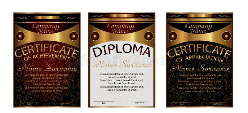 Diploma, certificaat van appreciatie, voltooiing Verticale temperaturen vector illustratie