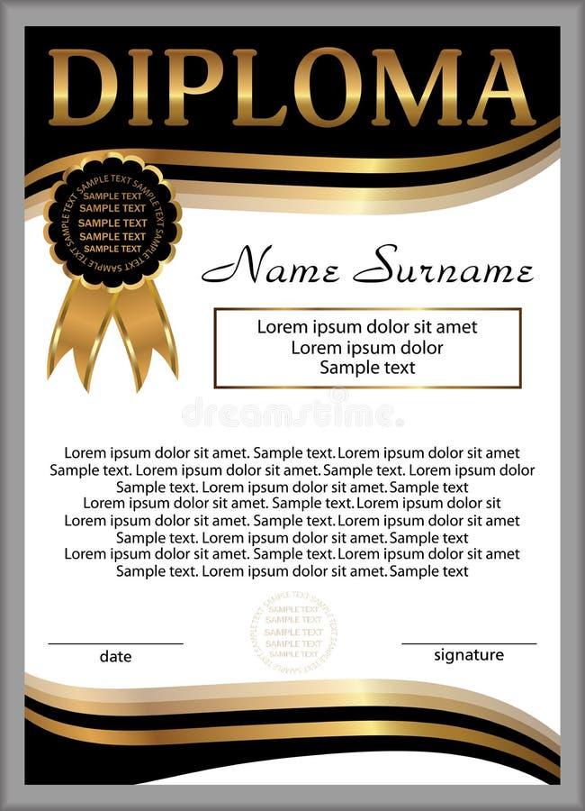 Diploma of certificaatmalplaatje Verticale achtergrond Winnend Th royalty-vrije illustratie