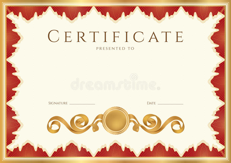 Diploma / Certificate background with red border royalty free illustration
