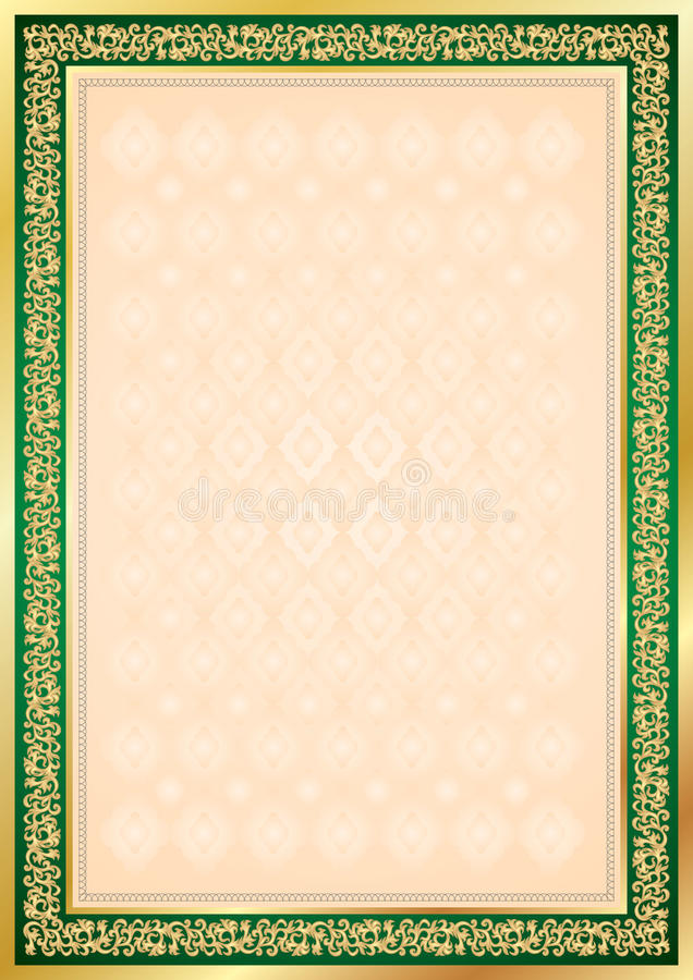 Diploma Or Certificate Frame And Background In Vec Stock Vector