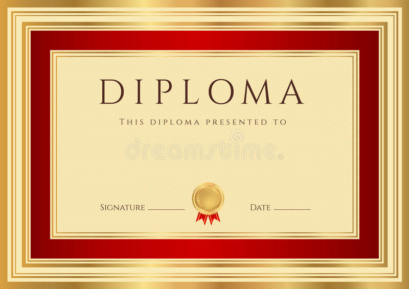 Download Diploma / Certificate Template With Red Border Stock Vector - Image: 30324001