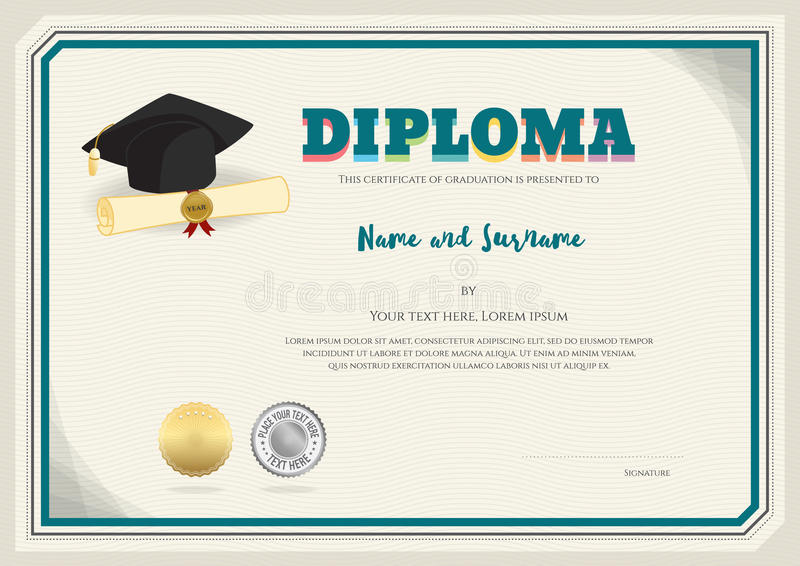 Diploma certificate template in vector with graduation cap stock download diploma certificate template in vector with graduation cap stock vector illustration of honor yadclub Choice Image