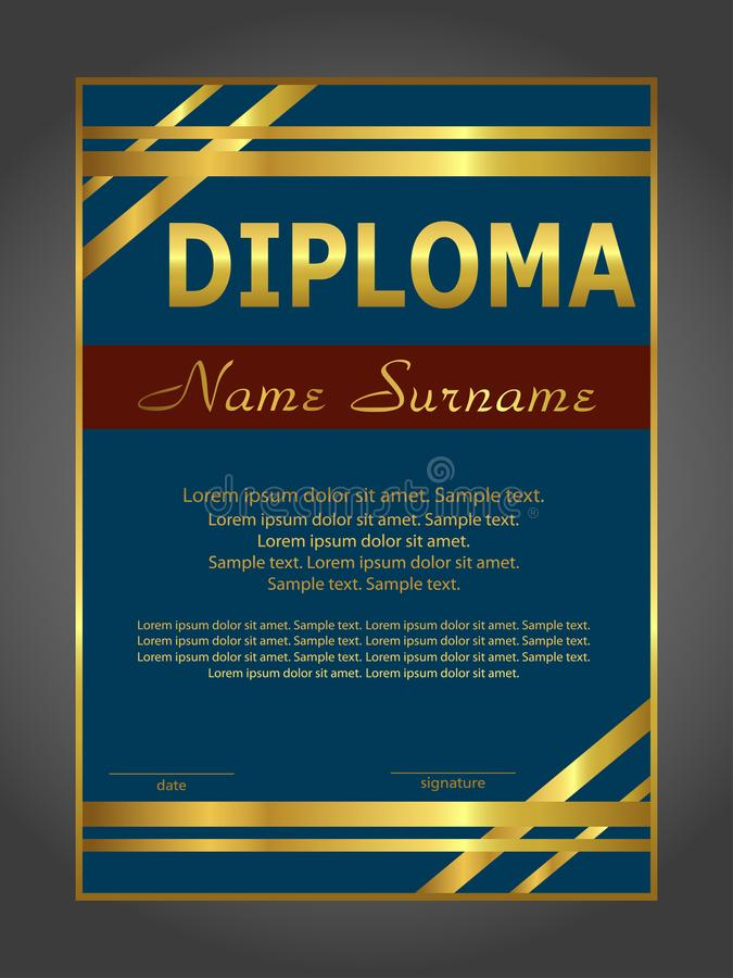 Diploma or certificate vertical template. Elegant blue background with gold. Vector vector illustration