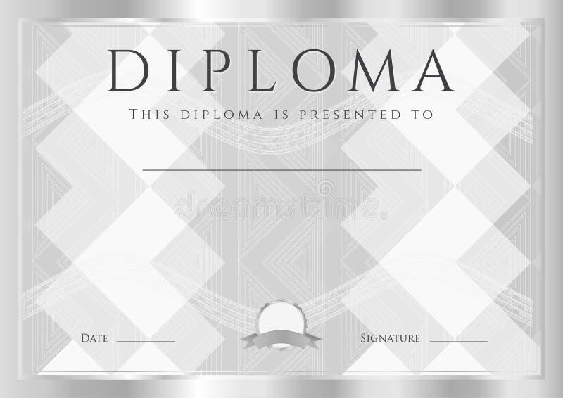 Diploma, certificato del modello di progettazione dell'estratto di completamento con la struttura e modello dell'argento illustrazione vettoriale