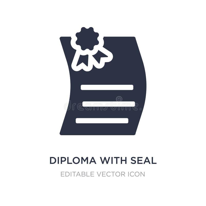 diploma com ícone do selo no fundo branco Ilustração simples do elemento do conceito da educação ilustração stock