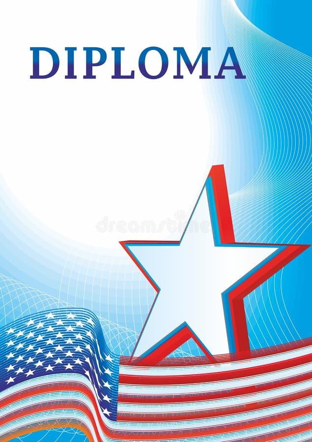 Diploma com a bandeira da estrela cinco-aguçado do Estados Unidos da América ilustração do vetor