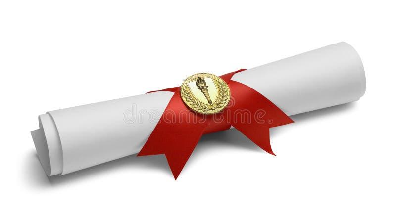 Diploma com medalha da tocha fotografia de stock