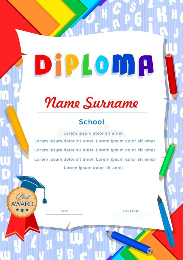 Diploma da criança com letras, rolos, lápis, cadernos e pena ilustração royalty free