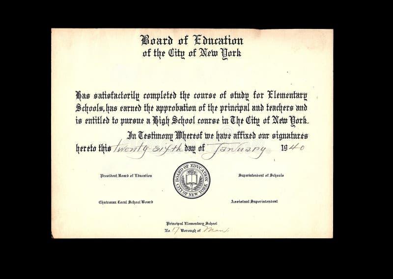 Diploma da escola de classe do vintage   imagem de stock royalty free