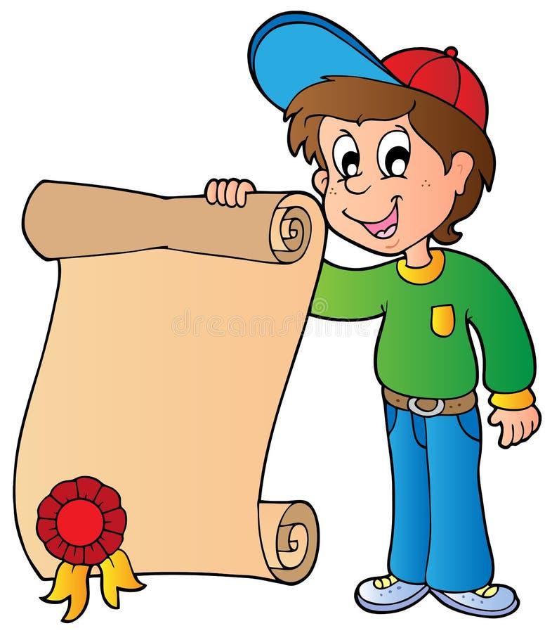 Diploma da terra arrendada do menino ilustração do vetor