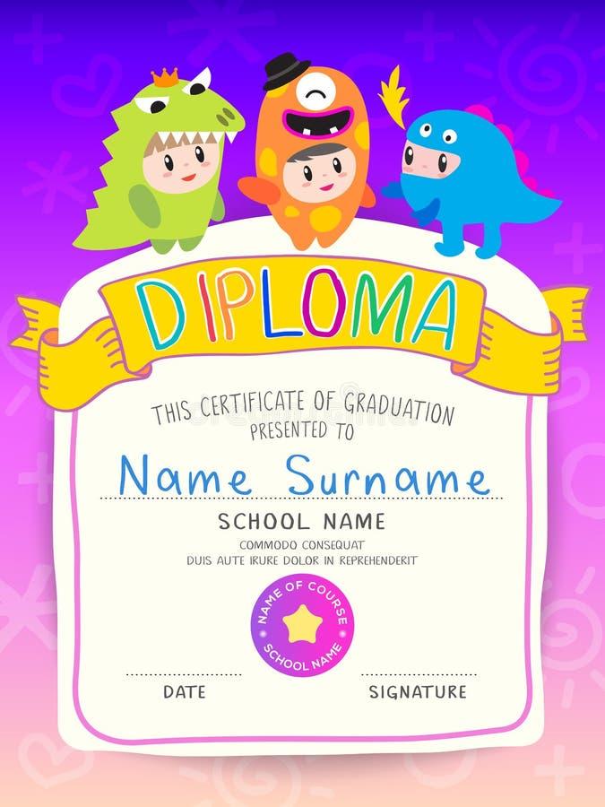 Diploma das crianças do certificado, disposição do molde do jardim de infância no vetor colorido do projeto do quadro Conceito do ilustração do vetor