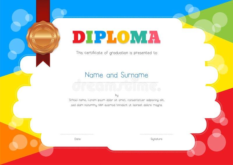 Diploma das crianças ou molde do certificado com fundo colorido ilustração stock