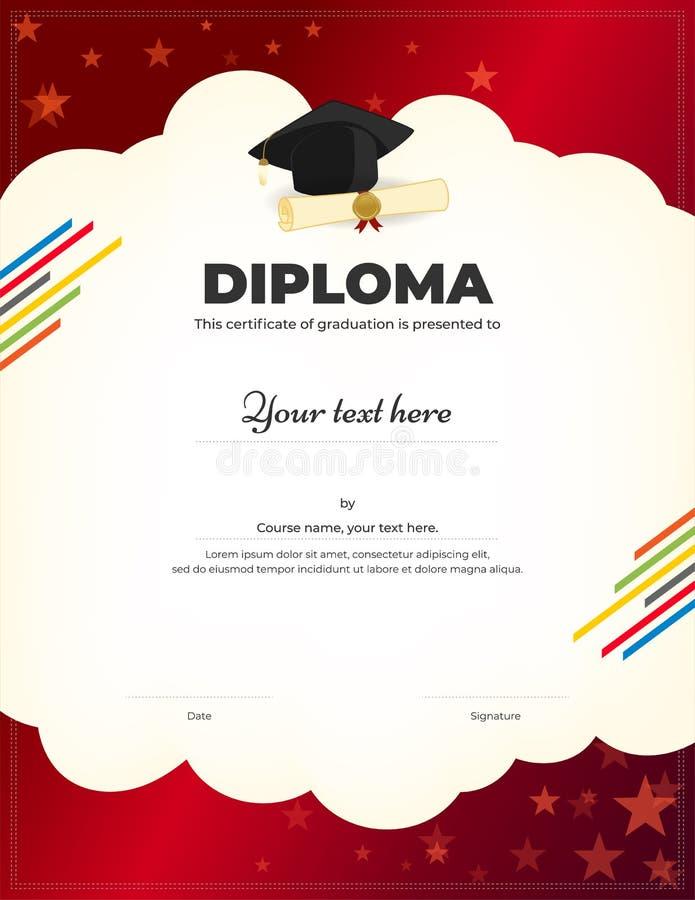 Diploma das crianças ou molde do certificado com fundo colorido ilustração do vetor