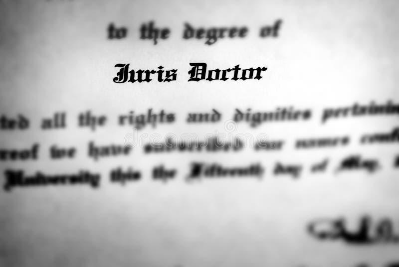 Diploma de direito Juris Doctor da faculdade legal da escola da educação imagem de stock royalty free