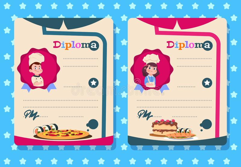 Diploma de la clase de cocina La chica joven y el muchacho cocinan al niño con el delantal, plantillas del certificado del vector libre illustration