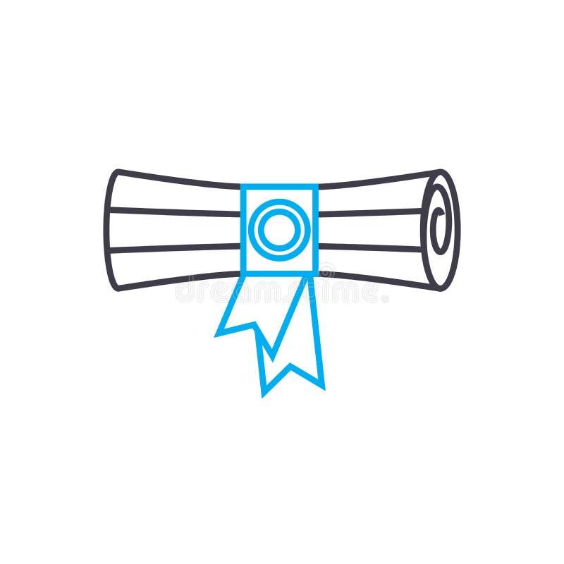 Diploma de la línea fina icono del vector de una educación más alta del movimiento Diploma del ejemplo del esquema de una educaci libre illustration
