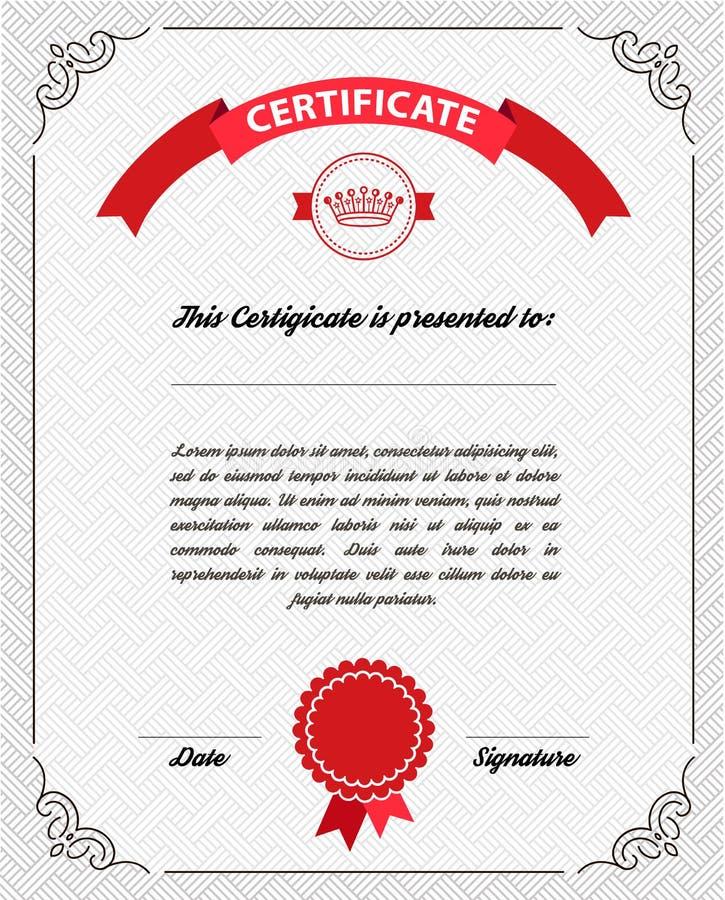 Diploma de la plantilla, moneda del certificado ilustración del vector