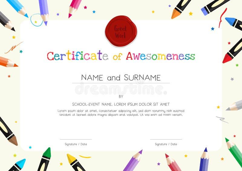 Diploma de los niños o plantilla del certificado con la frontera de la materia de la pintura libre illustration