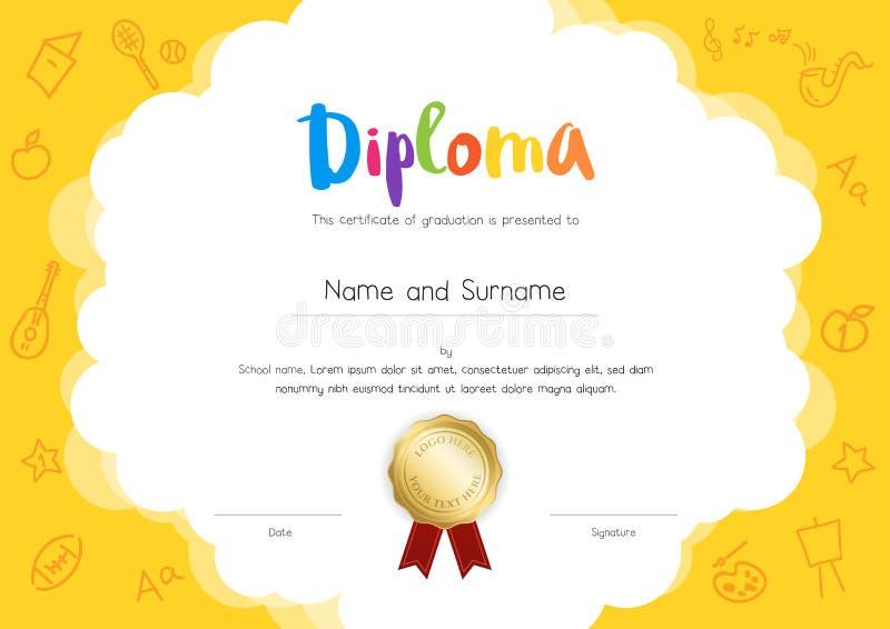 Diploma de los niños o plantilla del certificado con la historieta s del dibujo de la mano ilustración del vector